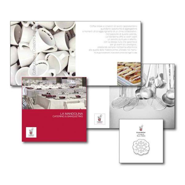 AdOpera, studio pubblicitario, comunicazione, immagine. Grafica, cataloghi, depliant e packaging: Brochure prodotto LA MANDOLINA CATERING