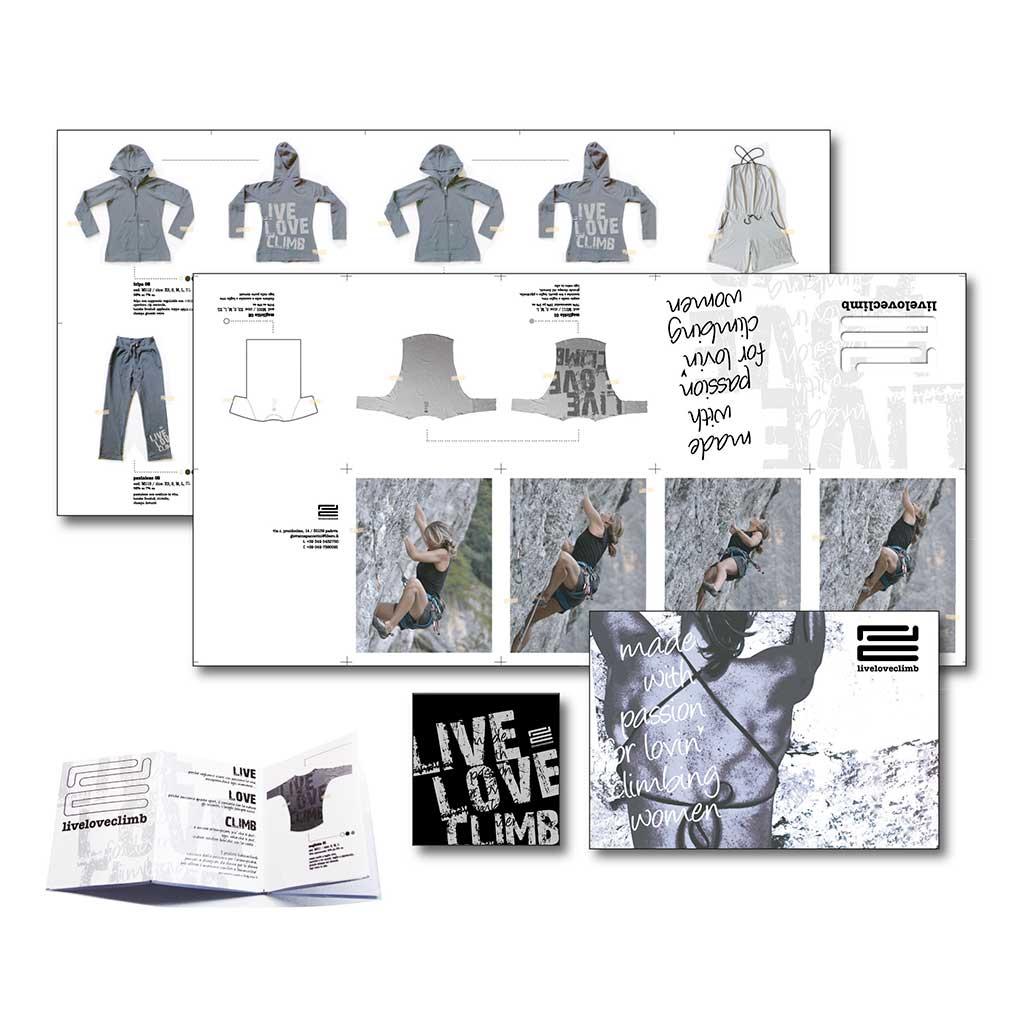 AdOpera, studio pubblicitario, comunicazione, immagine. Grafica, cataloghi, depliant e packaging: Cartolina prodotto LLC ABBIGLIAMENTO SPORTIVO